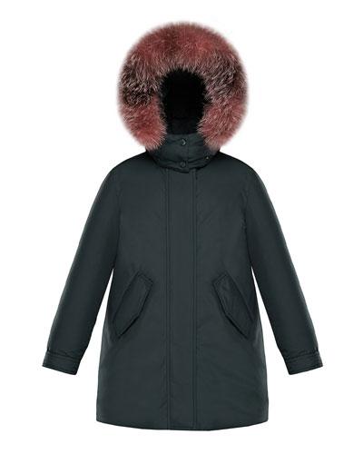 Hihiura Hooded Parka w/ Fur Trim, Size 8-14