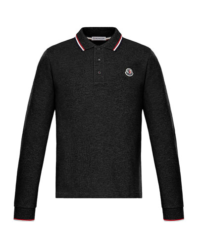 Long-Sleeve Polo w/ Striped Tipping, Size 4-6
