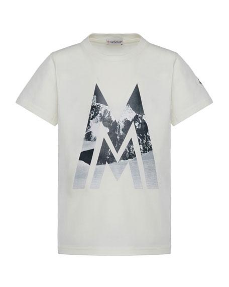 Moncler Short-Sleeve Knit Mountains & Logo Graphic T-Shirt,