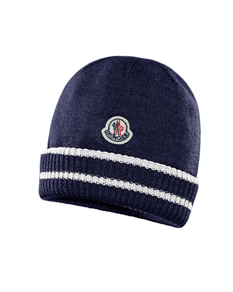 3c6c2f8ffac Moncler Kids  Virgin Wool Striped-Cuff Beanie Hat