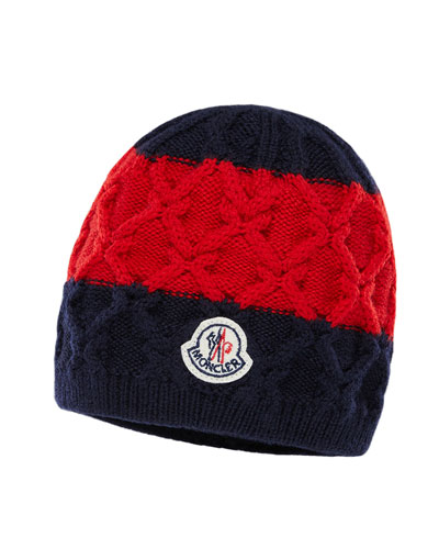 Kids' Two-Tone Diamond-Knit Virgin Wool Beanie Hat Quick Look. Moncler