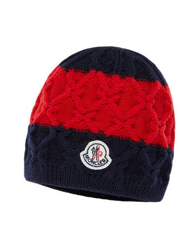 Kids' Two-Tone Diamond-Knit Virgin Wool Beanie Hat