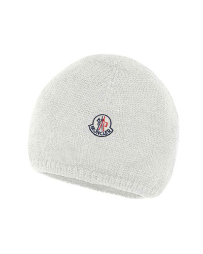 Kids' Logo-Patch Knit Virgin Wool Beanie Hat