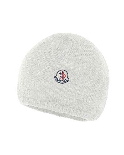 Kids' Logo-Patch Knit Virgin Wool Beanie Hat Quick Look. Moncler