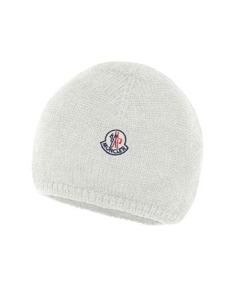 35af36033e2 Moncler Kids  Logo-Patch Knit Virgin Wool Beanie Hat