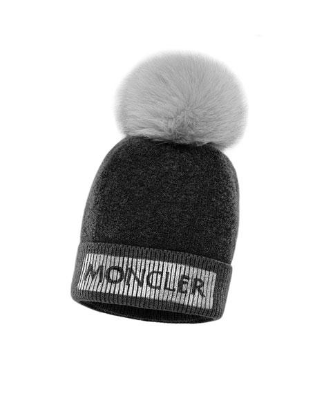 Moncler Kids' Metallic Logo Beanie Hat w/ Fur