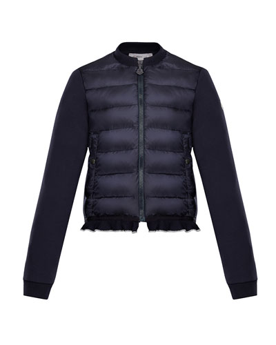 Quilted Bodice Jacket w/ Knit Trim, Size 8-14