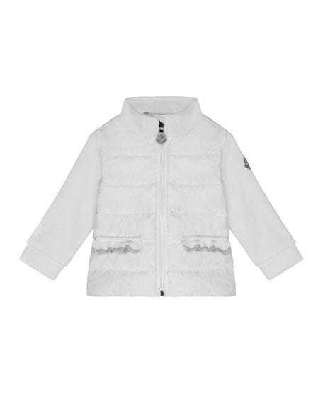 Moncler Mixed-Media Stand-Collar Jacket, Size 12M-3