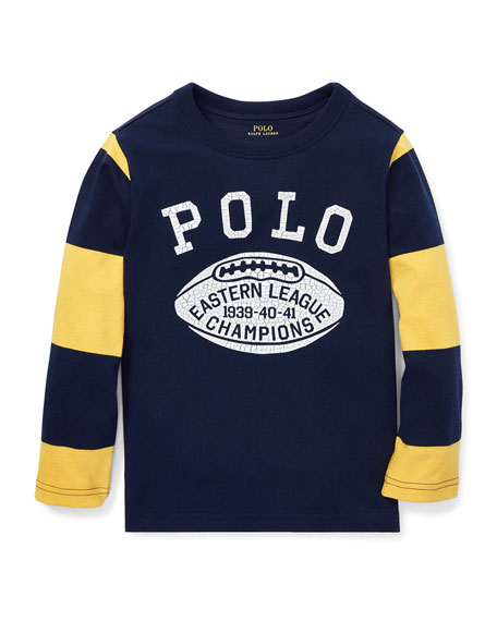 RALPH LAUREN CHILDRENSWEAR Polo Football Striped-Sleeves T-Shirt, Size 2-4 in Blue