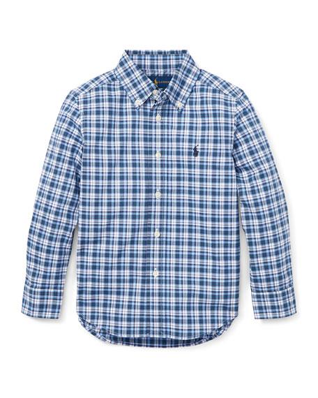 RALPH LAUREN CHILDRENSWEAR Long-Sleeve Plaid Button-Down Shirt, Size 5-7 in Blue