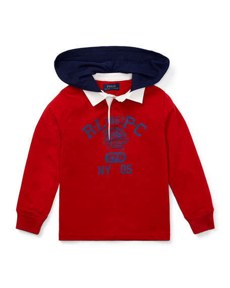 RALPH LAUREN CHILDRENSWEAR Hooded Knit Rugby Top, Size 5-7 in Red