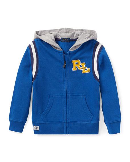 RALPH LAUREN CHILDRENSWEAR Hooded Logo Zip-Up Jacket, Size 2-4 in Blue