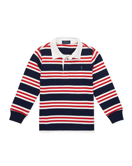 RALPH LAUREN CHILDRENSWEAR Long-Sleeve Striped Rugby Top, Size 5-7 in Blue