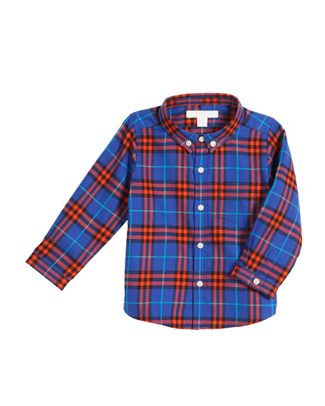 Burberry Fred Check Button-Down Shirt, Size 12M-3