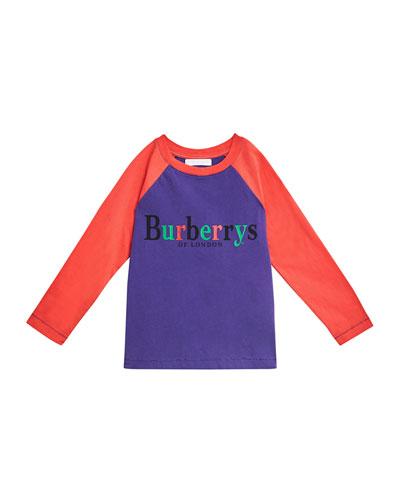 Multicolored Burberrys Logo Baseball Tee, Size 4-14