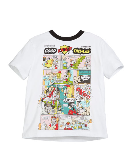 Comic Strip Graphic Short-Sleeve Tee, Size 4-14, White
