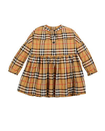 4b43f9f230ef Marny Check Puff-Sleeve Dress Size 4-14 Quick Look. Burberry