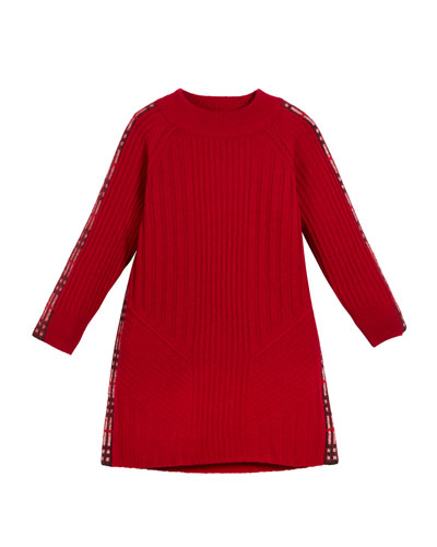 Cathina Check-Trim Knit Sweater Dress, Size 4-14