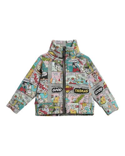 Comic Stripe Graphic Jacket, Size 12M-3