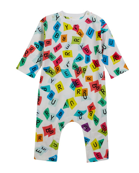 Burberry Confetti Logo-Print Coverall, Size 3-18 Months