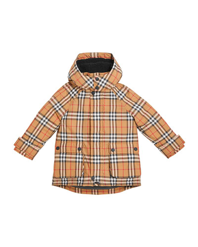 Chrissy Check Down Coat, Size 4-14