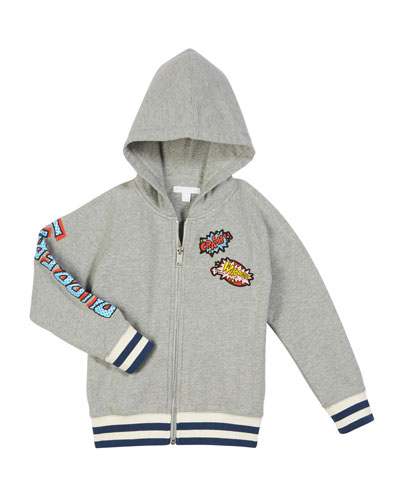 Mannis Comic Book Patches Zip-Up Hooded Jacket, Size 4-14