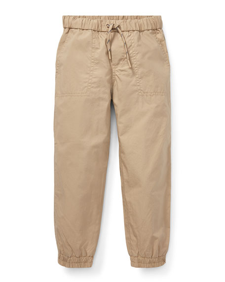 RALPH LAUREN CHILDRENSWEAR Cotton Jogger Pants, Size 2-4 in Beige