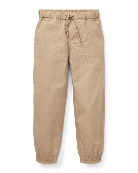 RALPH LAUREN CHILDRENSWEAR Cotton Jogger Pants, Size 5-7 in Beige