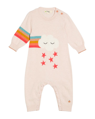 Rainbow Cloud Intarsia Knit Coverall, Size 0-18 Months
