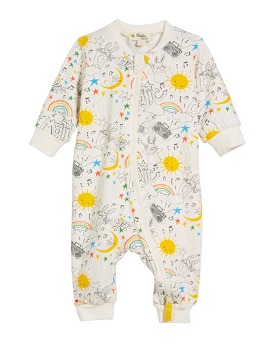 Buzzy Magic-Print Zip-Front Coverall, Size 0-18 Months