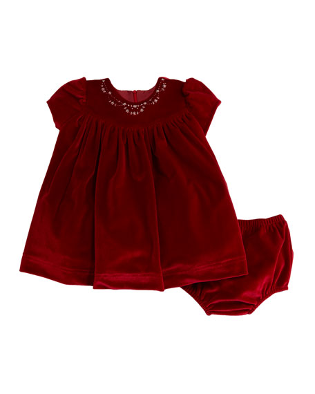 Luli & Me Embroidered Velvet Dress w/ Bloomers,