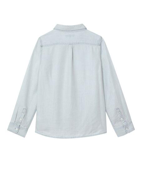 Light Wash Brunch Crew Button-Front Shirt, Size S-L