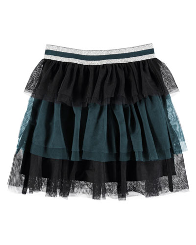 Birthe Tiered Two-Tone Tulle Skirt, Size 3T-12