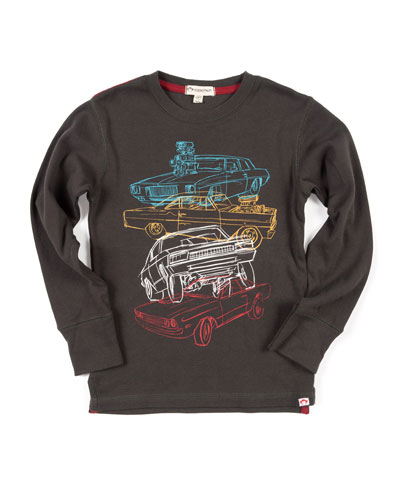 Car Stack Graphic Top, Size 2-10