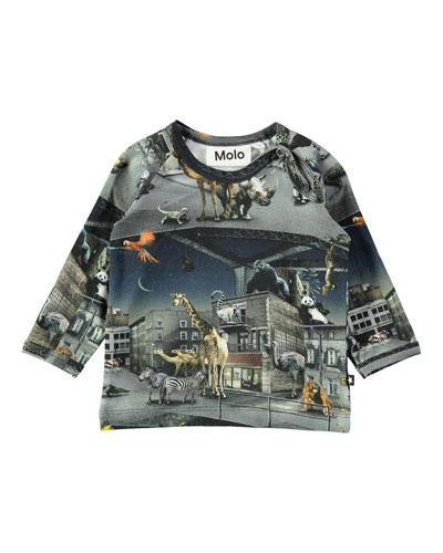 Ewald Escaped Zoo Animal-Print Tee, Size 6-24 Months