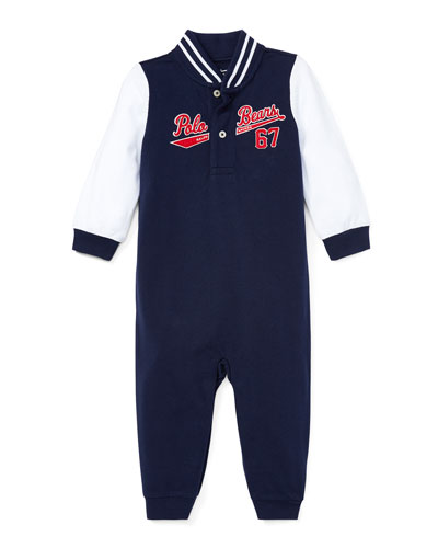 Baseball Polo Bears Coverall, Size 3-12 Months