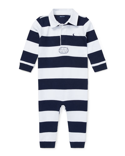Striped Rugby Collared Coverall, Size 3-12 Months
