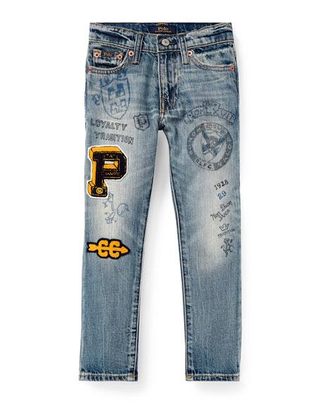 RALPH LAUREN CHILDRENSWEAR Sullivan Marker-Print Straight-Leg Jeans, Size 2-4 in Blue