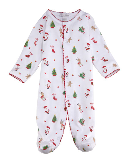 Kissy Kissy Tis The Season Printed Pima Footie