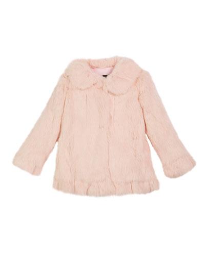 Ruffle-Hem Fur Coat  Size 2T-12Y