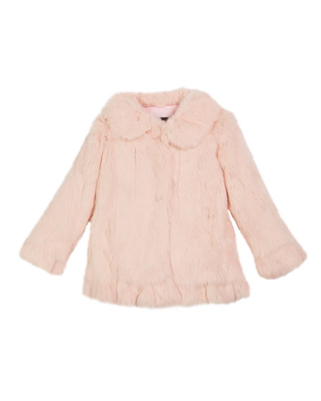 Ruffle-Hem Fur Coat, Size 2T-12Y