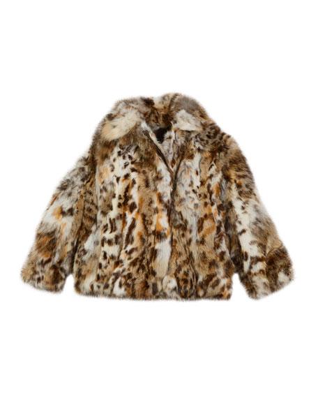 Lynx-Pattern Fur Jacket, Size 2T-12Y
