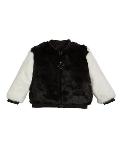 Two-Tone Fur Varsity Jacket  Size 4-12
