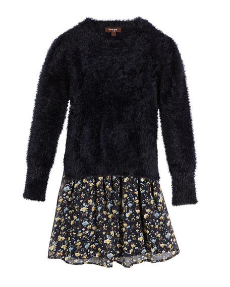 Fancy Yarn Sweater & Floral Chiffon Dress Set, Size 8-14