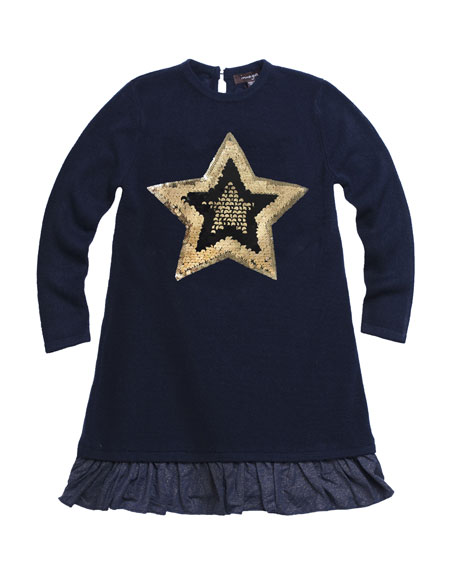 Imoga Fine Sweater Metallic-Hem Long-Sleeve Dress w/ Sequin