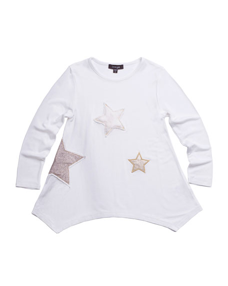 IMOGA JERSEY-STRETCH TUNIC W/ FAUX-FUR & SEQUIN STAR PATCHES, SIZE 2-6
