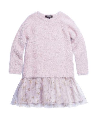 Long-Sleeve Fancy Yarn Dress w/ Mesh Skirt, Size 4-6