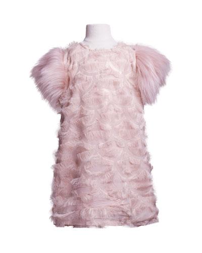 Fringe A-Line Dress w/ Faux Fur Sleeves, Size 4-6