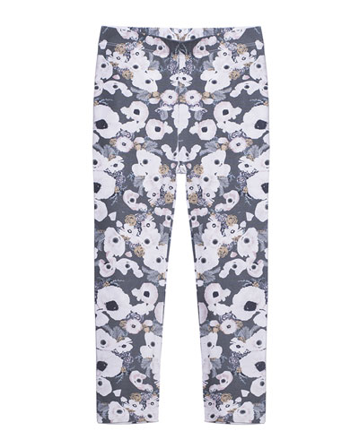 Floral-Print Stretch Leggings, Size 2-6