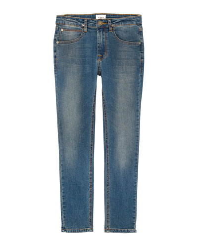 Jagger Slim Straight Knit Denim Jeans, Size 4-7